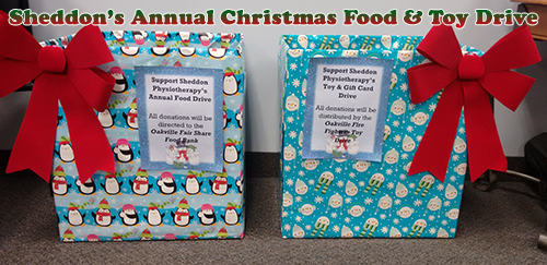 Christmas food and toy Drive 2018 Sheddon Physio Sports Clinic Oakville Mississauga